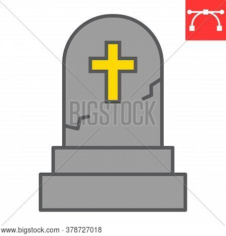 Gravestone Color Line Icon, Halloween And Scary, Tombstone Sign Vector Graphics, Editable Stroke Fil