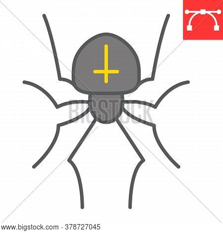 Spider Color Line Icon, Halloween And Scary, Arachnid Sign Vector Graphics, Editable Stroke Filled O