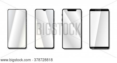 Smartphone Mock Up Vector Collection Isolated On Transparent Background, With Screen Glass Mirroring