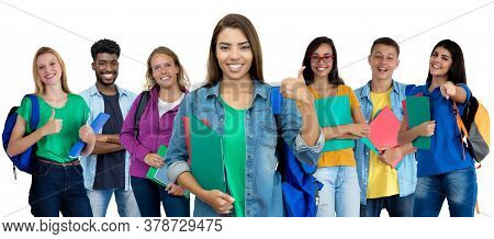 Successful Latin American Female Student With Group Of Multi Ethnic Young Adults Isolated On White B