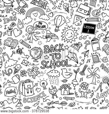 Back To School Doodle Icons Seamless Pattern Background. Hand Drawn Education Sign And Stationery Su