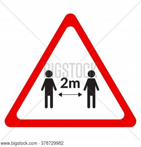 Social Distancing Warning Sign 2 M. Two People Stay On 2 Meters Distance. Isolated Vector Illustrati