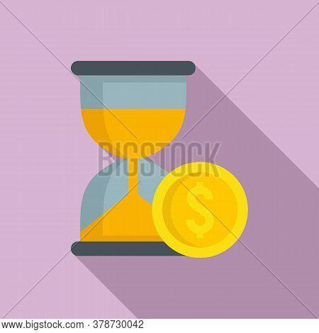 Money Hourglass Online Loan Icon. Flat Illustration Of Money Hourglass Online Loan Vector Icon For W