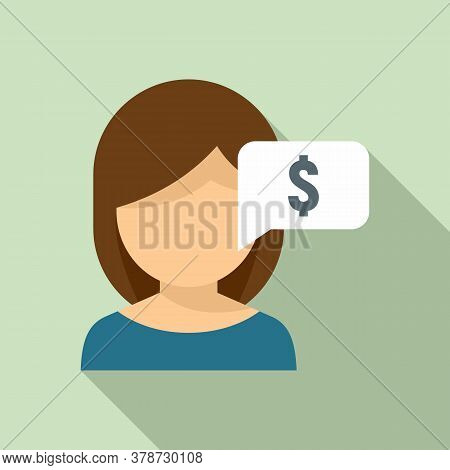 Girl Ask Online Loan Icon. Flat Illustration Of Girl Ask Online Loan Vector Icon For Web Design