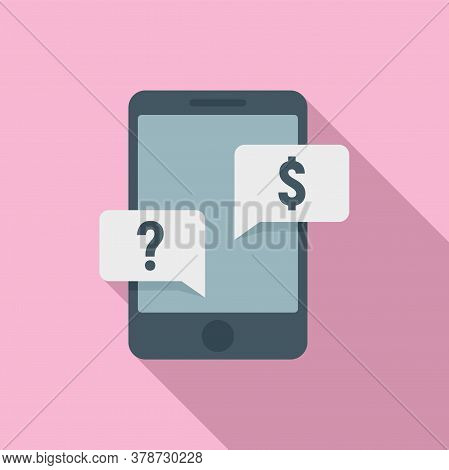 Smartphone Question Online Loan Icon. Flat Illustration Of Smartphone Question Online Loan Vector Ic