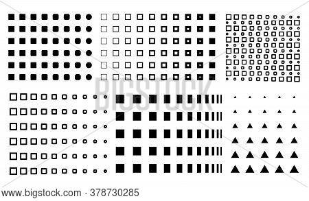 Vector Memphis Design Elements, Gradient Memphis, Circles To Squares, Dots, Squares Gradient,