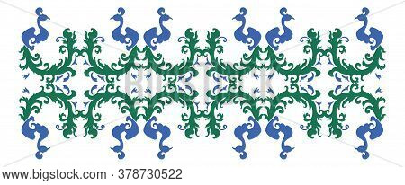 Peacock Vector Ornament, Can Be Used As Decoration. Ornament Is Blue And Green.