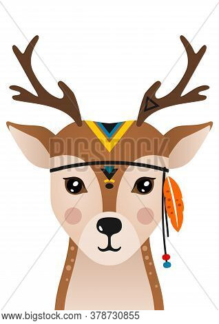 Cute Deer Have Headdress With Feathers On Head. Woodland Forest Animal. Cartoon Apache Deer. Design