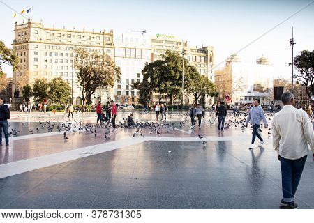 Barcelona, Spain - February,22 2019:  Catalonia Square (placa De Catalunya). It Is A Large Square In