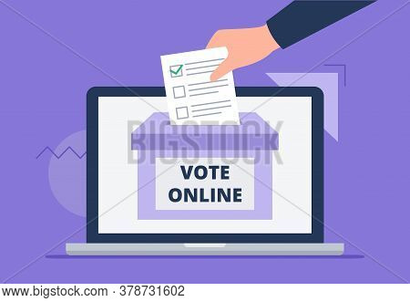 A Man Throws A Letter To The Box. A Hand With A Voting Letter. Online Voting Concept, Electronic Vot