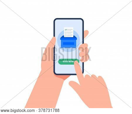 E-voting Concept With A Smartphone. A Man Holds The Phone And Voting Online. Online Voting Concept,