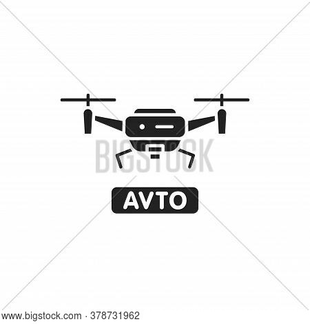 Drone Automatic Unmanned Control Black Glyph Icon. Aircraft Device Concept. Delivery Service. Sign F