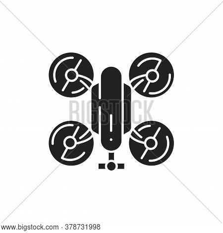 Drone Automatic Unmanned Control Black Glyph Icon. Flying Robot. Aircraft Device Concept. Sign For W