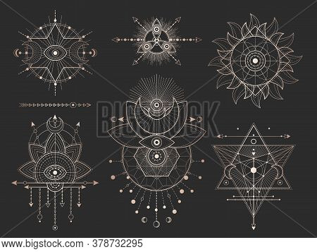 Vector Set Of Sacred Geometric Symbols And Figures On Black Background. Gold Abstract Mystic Signs C
