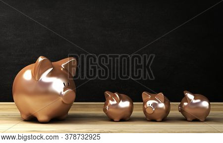 Gold Piggy Bank On Wooden Table Background 3d Rendering
