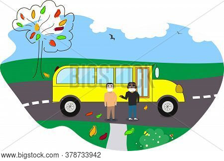 Children Or Students Of Different Nationalities Going Back To School. Waiting A School Bus On A Bus