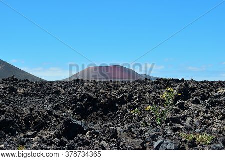 The Vast Emptiness And Loneliness Of The Lanzarote Black Frozen Lava Volcanic Desert And One Volcano