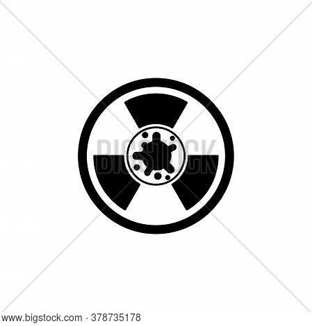 Virus, Bacteria And Radiation Sign Icon, Symbol. Coronavirus, Covid-19 Icon, Logo Black On White Bac