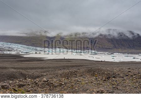 View Of The Skaftafell Glacier With Lake In The Vatnajokull National Park. Southeast Iceland.