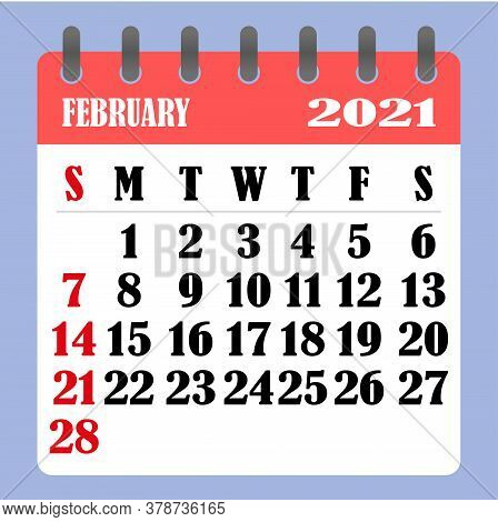 Letter Calendar For February 2021. The Week Begins On Sunday. Time, Planning And Schedule Concept. F
