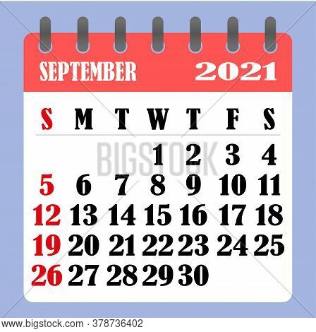 Letter Calendar For September 2021. The Week Begins On Sunday. Time, Planning And Schedule Concept.