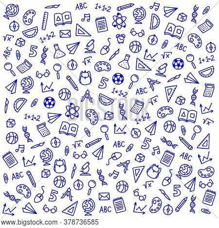 Vector Sketch Icons On A School Theme On A White Background