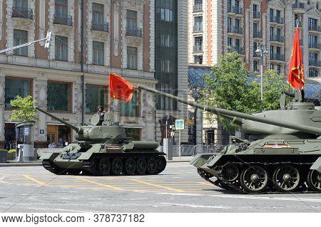 Moscow, Russia - June 20, 2020:medium Tanks T-34-85 On Tverskaya Street During The Dress Rehearsal O