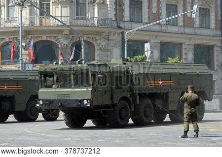 Moscow, Russia - June 20, 2020:the 9k720 Iskander-m Operational-tactical Missile System On A Moscow