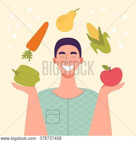 Smiling Man With Vegetables And Fruits In His Hands.healthy Food, Concept Of Diet, Raw Food Diet, Ve
