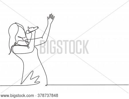 Single Continuous Line Drawing Of Young Happy Female Singer Holding A Microphone And Singing On Musi