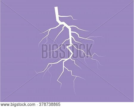 Silhouette Of A Thunder Lightning On A Lilac Background. Illustration