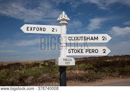 Signpost In The Exmoor Known As Porlock Post, Somerset Uk