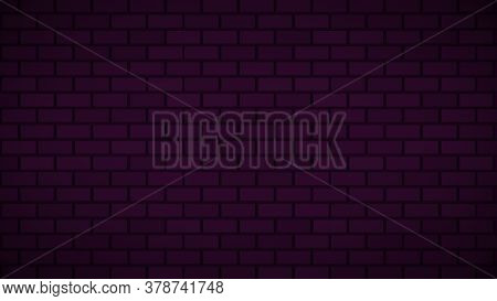 Empty Brick Wall With Pink Neon Light Dim With Copy Space. Lighting Effect Pink Color Glow On Brick