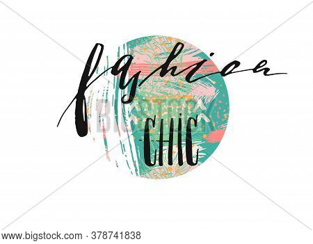 Hand Drawn Vector Template Card With Handwritten Lettering Phase Fashion Chic Design Element For Ban