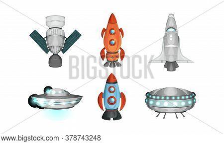Spaceships Set, Rocket, Space Station, Ufo Saucer, Spacecraft Flat Style Vector Illustration