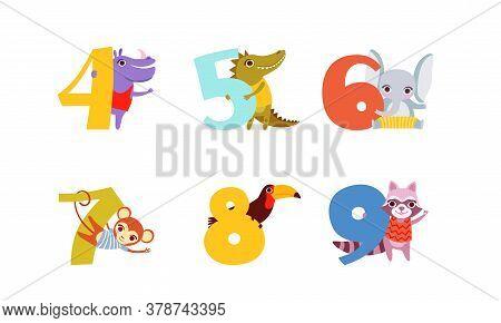Anniversary Numbers With Cute Animals Set, Hippo, Crocodile, Elephant, Monkey, Toucan, Raccoon Carto