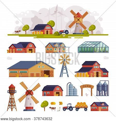 Rural Buildings And Agricultural Objects Set, Summer Farm Scene With Red Barn And Windmill, Agricult