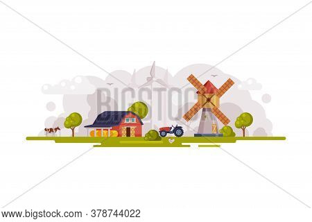 Farm Scene With Red Barn, Windmill And Wind Turbines, Summer Rural Landscape, Agriculture And Farmin