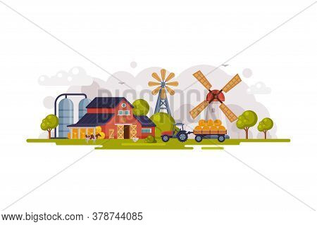 Farm Scene With Red Barn House, Windmill And Wind Turbine, Summer Rural Landscape, Agriculture And F