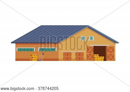 Wooden Barn For Keeping Hay And Agricultural Equipment, Traditional Wooden Agricultural Building Car