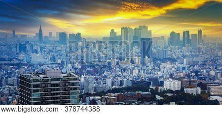 Amazing cityscape of Tokyo metropolis at sunset, Japan