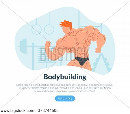 Bodybuilding Landing Page Template With Muscular Strong Man Character, Weightlifting Sport Activity,