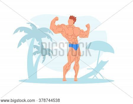 Muscular Strong Man Posing On Beach, Athletic Man Character In Swimming Trunks Showing Muscles Carto