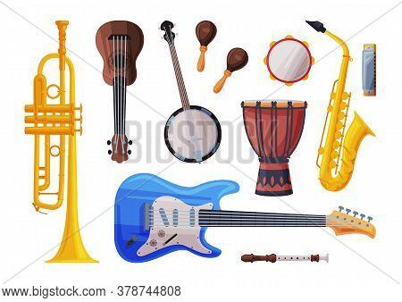 Musical Instruments Set, Cello, Ukulele, Saxophone, Harmonica, Maracas, Flute, Saxophone Flat Style