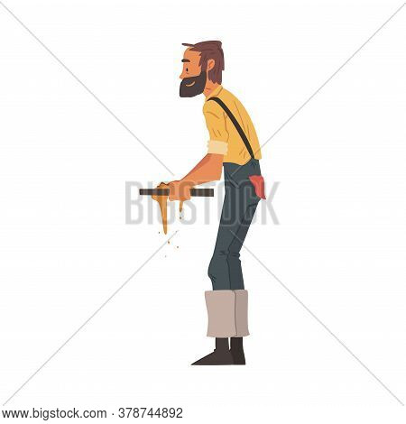 Male Prospector Sifting Golden Sand And Prills With Sieve, Bearded Gold Miner Character Wearing Vint