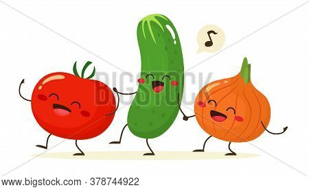 Cheerful Tomato, Cucumber And Onion Go Together Holding Hands. Friends Forever. Vector Illustration