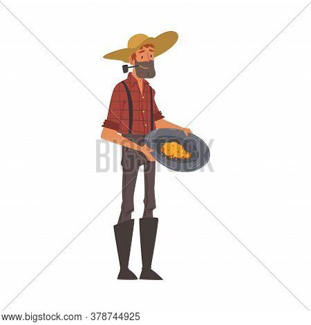 Male Prospector, Bearded Gold Miner Character Wearing Vintage Clothes And Hat Panning Golden Sand An