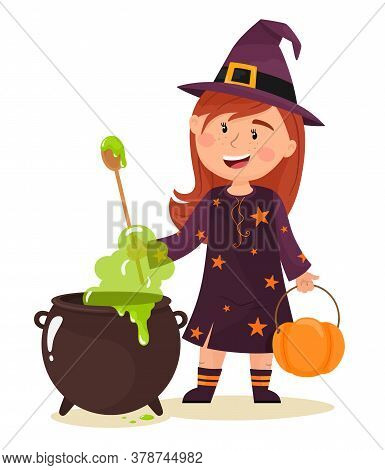 The Little Witch Is Brewing A Potion. Happy Halloween. Vector Illustration In Flat Cartoon Style.