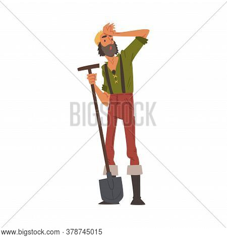 Male Prospector Standing With Shovel, Bearded Gold Miner Character Wearing Vintage Clothes Cartoon S