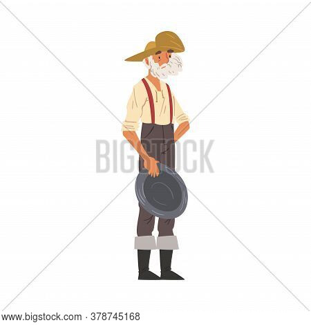 Male Prospector Standing With Pan, Mature Bearded Gold Miner Wild West Character Wearing Vintage Clo